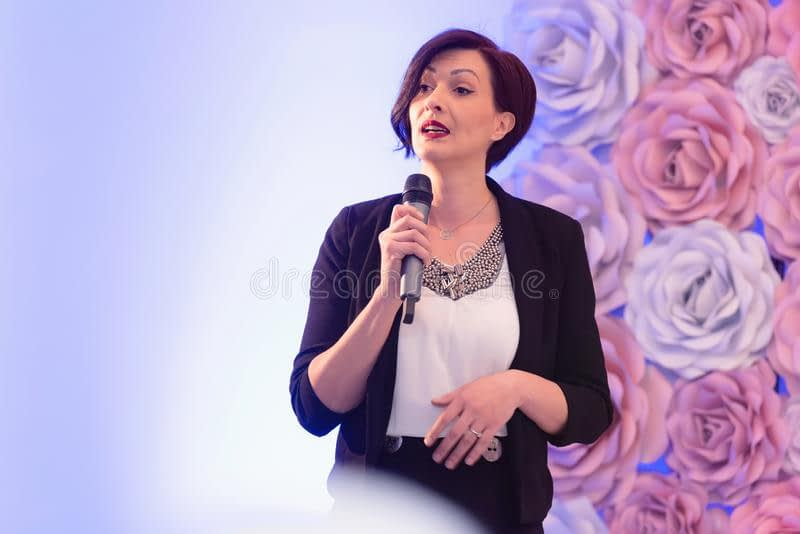 beautiful business woman microphone her hand speaking conference seminar 164918512