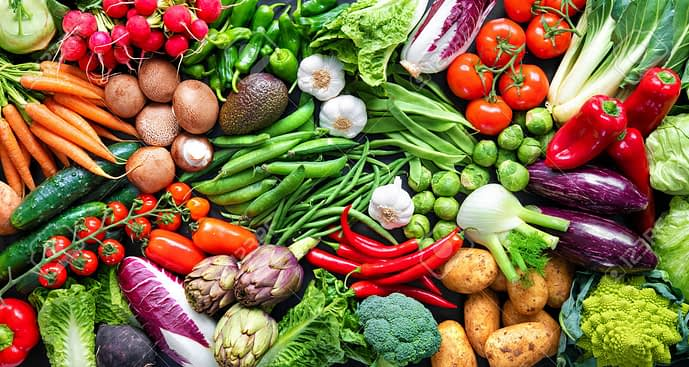 139246120 panoramic food background with assortment of fresh organic vegetables